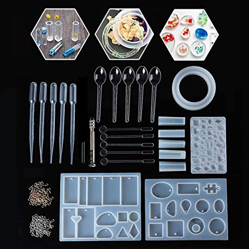 Jeteven Jewelry Pendant Mold Jewelry Casting Mold, Bracelet Pendant 127 PCS Jewelry Tools Kit Silicone Necklace Earrings Jewelry DIY Craft -