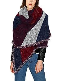 Urban CoCo Women's Cozy Scarf Color Block Long Shawl Wrap (wine red-Model A)