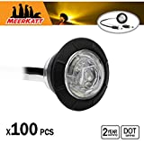 Meerkatt Pack of 100 Special Generation 3 4 inch Round Clear Lens Amber LED Side Marker Indicators Lights Waterproof Surface Mount Clearance Lamp RV Trailer Marine Dump Truck 12V DC 2 Pin Plug XT-DC