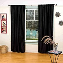 Lined-Velvet Blackout Home Theater Curtain Panel, 80W x 84L, Black