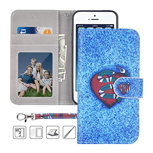 iPhone 5S Wallet Case,iPhone 5 Wallet Case,iPhone SE Wallet Case,MagicSky Premium PU Leather Flip Folio Case Cover with Wrist Strap,Card Slots,Cash Pocket,Kickstand for Apple iPhone 5S/5/SE(Snake)