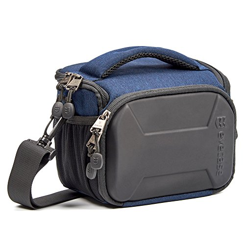Water Resistant Material - Evecase SLR Digital Camera Holster Shoulder Bag, Compact System Carrying Case Feature Shell for Superior Protection, Multiple Pockets for Accessories, Shock and Water Resistant Material - Navy Blue