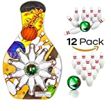 Miniature Bowling Game Set -12 Pack Deluxe - For Kids, Playing, Party, Fun, Boys, Girls, Bowlers Etc.- Kidsco