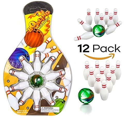 Miniature Bowling Game Set -12 Pack Deluxe - For Kids, Playing, Party, Fun, Boys, Girls, Bowlers Etc.- (Party Miniature)