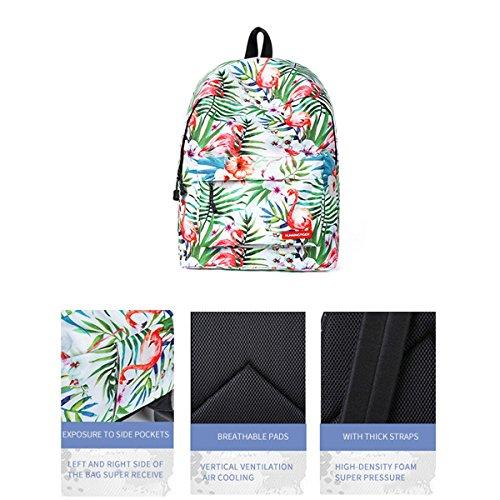 Monedero Preescolar Mochila Bookbag la de Femenino para Mochila Flamenco JOSEKO Universidad Ligera niñas Verde Imprimir Bolso qXwrXI4p