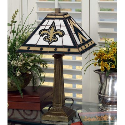 NFL Mission Style Stained Glass Table Lamp NFL Team: New Orleans Saints by The Memory Company