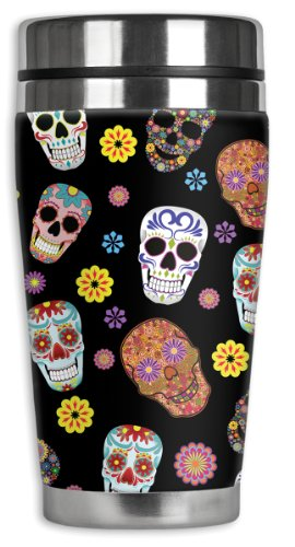 [Mugzie Sugar Skull Toss Travel Mug with Insulated Wetsuit Cover, 16 oz, Black] (Covered Sugar Cup)