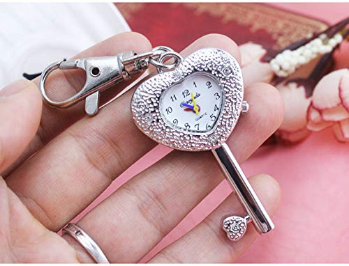 Love Environment Hot Keychain Pearl Girls Necklace Silver Chain Key Holder Pocket Watch Crystal Shells Rabbit Mouse Carving Case Cute ()