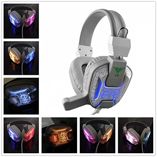 Einskey Computer Gamimg Headphones, Change Colors LED Light Headset with Microphone for Catting Gaming (White)