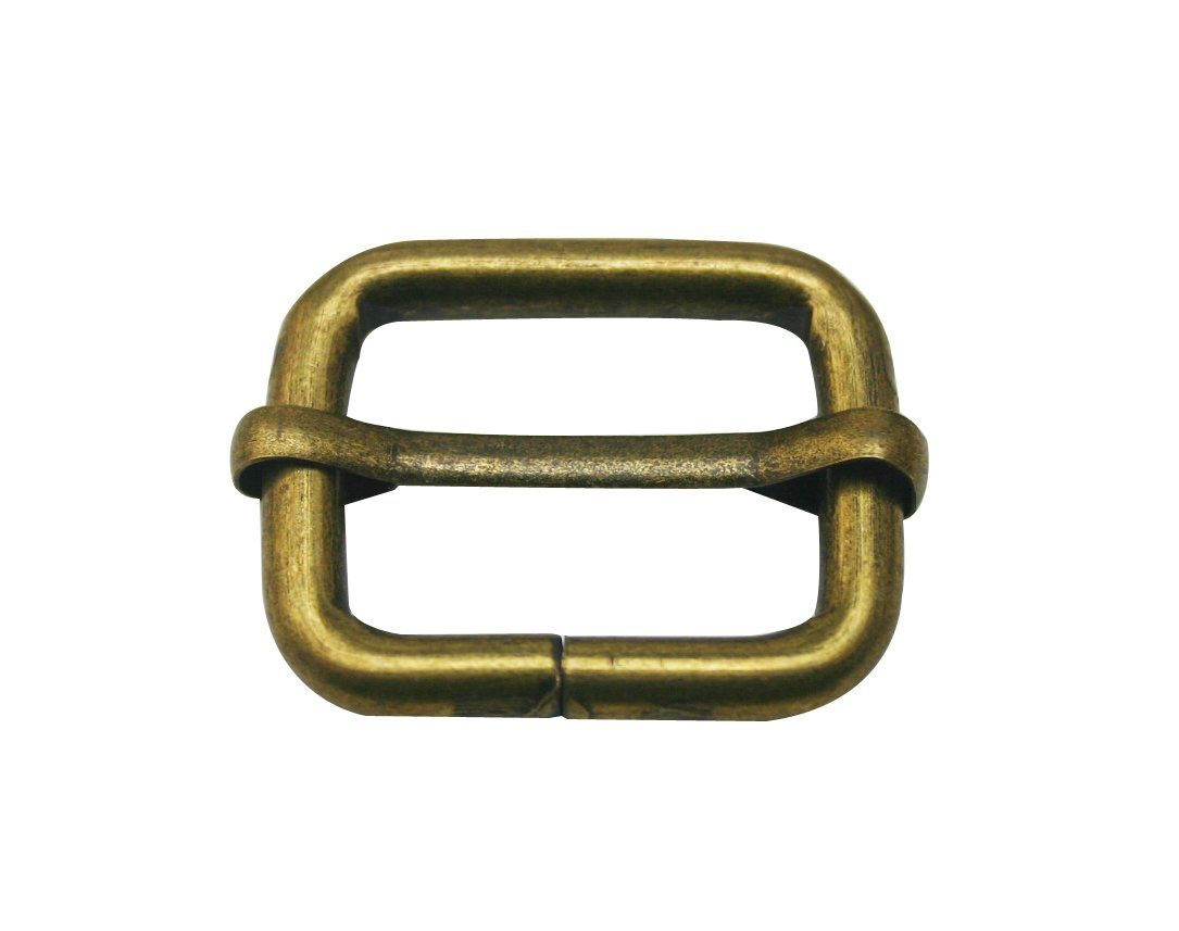 Generic Metal Bronze Rectangle Buckle 1 X 0.75 Inside Size Slider Bar Strap Keeper by Generic