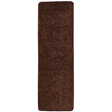 Ottomanson Luxury Collection Solid Shag Runner Rug with (Non-Slip/Rubber-Backing) Bathroom Mat, Brown, 20  x 59