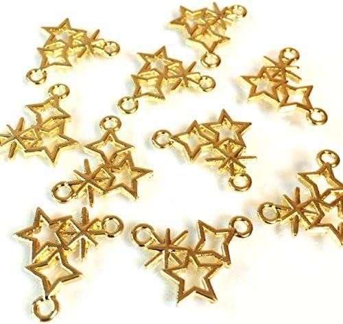星のきらめき 6個 ゴールド空枠チャーム アクセサリーパーツ ハンドメイド 手芸材料