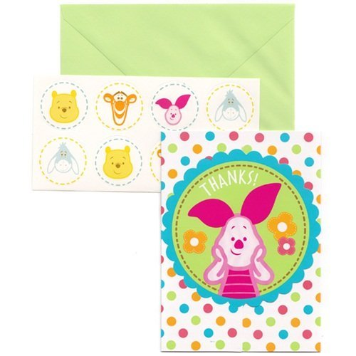amscan Winnie The Pooh 'Little Hunny' Baby Shower Thank You Notes w/ Envelopes (8ct) -