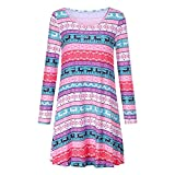 XOWRTE Women's Casual Christmas O-Neck Printed