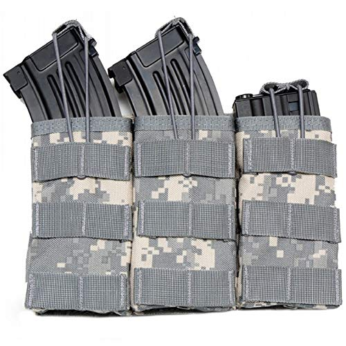 TOPTIE Tactical Magazine Pouch, M4 M16 AR-15 Type Molle Mag Pouch, Double/Triple Airsoft Open-Top Mag Holder-Triple ACU