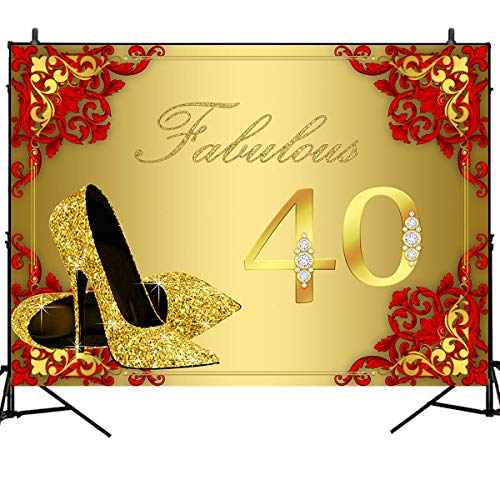 - Mehofoto 40th Birthday Background Red Flower Wall Background Golden 40 Fabulous Party Banner Decoration Golden High Heels Background 8X6ft Vinyl Woman Custom Photo Studio Props Photo Booth Banner Dec