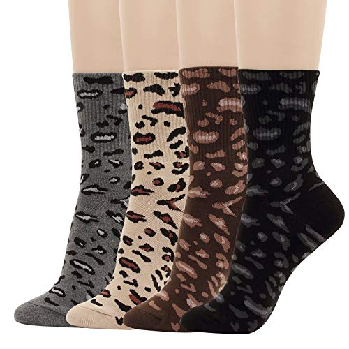 4 Pairs Leopard Crew Socks Animal Pattern Print Fun Women Girl Boy Novelty (A- 4pairs(womens 6-8.5))