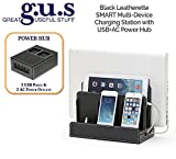 G.U.S. Multi-Device Charging Station Dock & Organizer - Multiple Finishes Available. For Laptops, Tablets, and Phones - Strong Build, SMART Black Leatherette with USB+AC Power Hub (8A/40W)