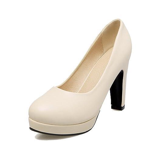 8100a1f0702 AmoonyFashion Women s Round-Toe PU Solid High-Heels Pumps-Shoes