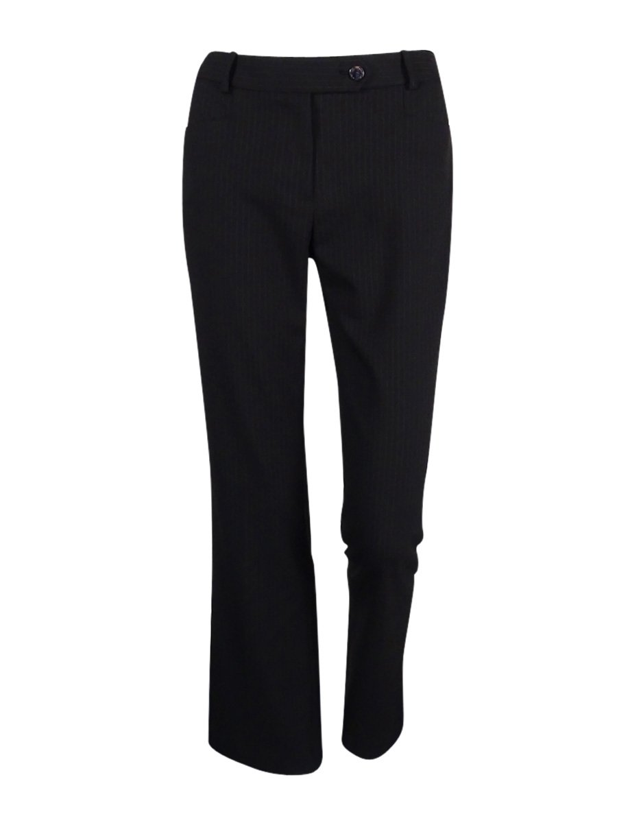 Calvin Klein Women's Shadow-Striped Modern Fit Dressed Pants (12P, Black)