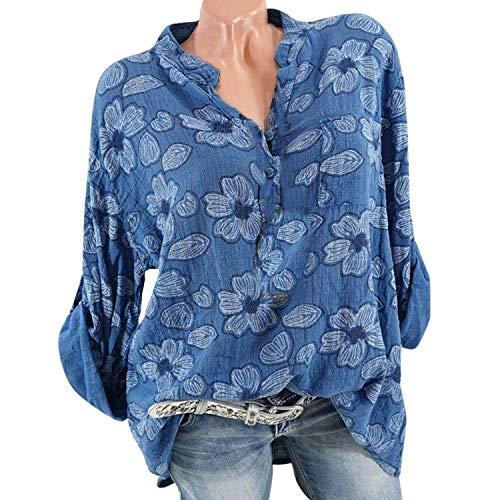 405708832 AMAZING AMAZING Women Plus Size Long Sleeve Blouse Ladies Floral Print  Blouse Pullover Tops Shirt Blusas