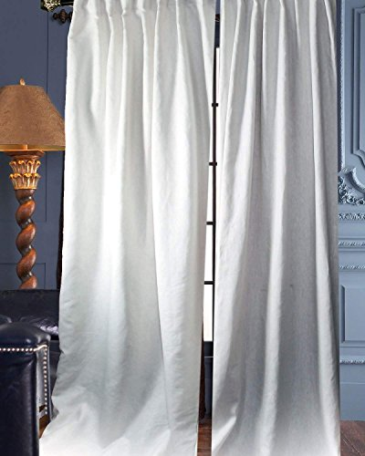 Deveson 100% Linen Panels/Curtains/Drapes (White, 50