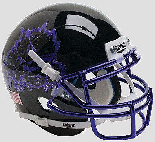 Schutt TCU Horned Frogs Authentic College XP Football Helmet Black with Chrome Mask - Licensed NCAA Merchandise