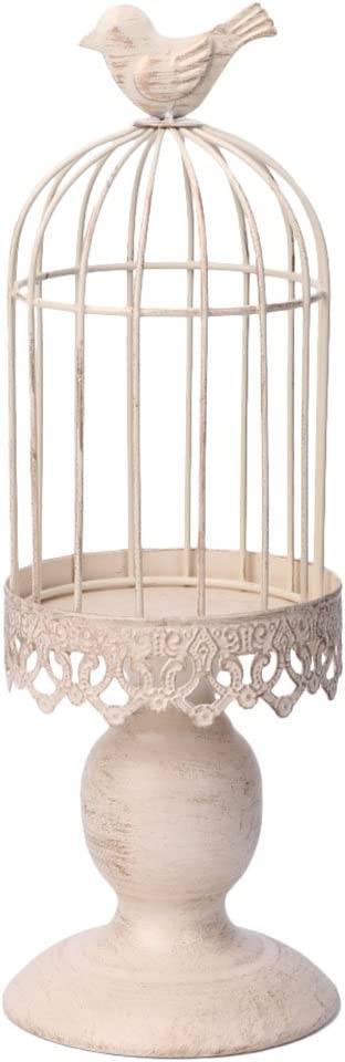 tegongse Metal Bird Cage Hollow Out Candle Holder Candlestick Vintage Hanging Lantern for Home Decor Gifts Articles