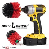 Stiff Bristle Drill Powered Deck Scrub Brush Attachment - Remove Mold, Mildew, and Moss from Garden Statues, Birdbaths, Monuments, and Headstones - Concrete Pools - Algae - Rust and Hard Water Stains