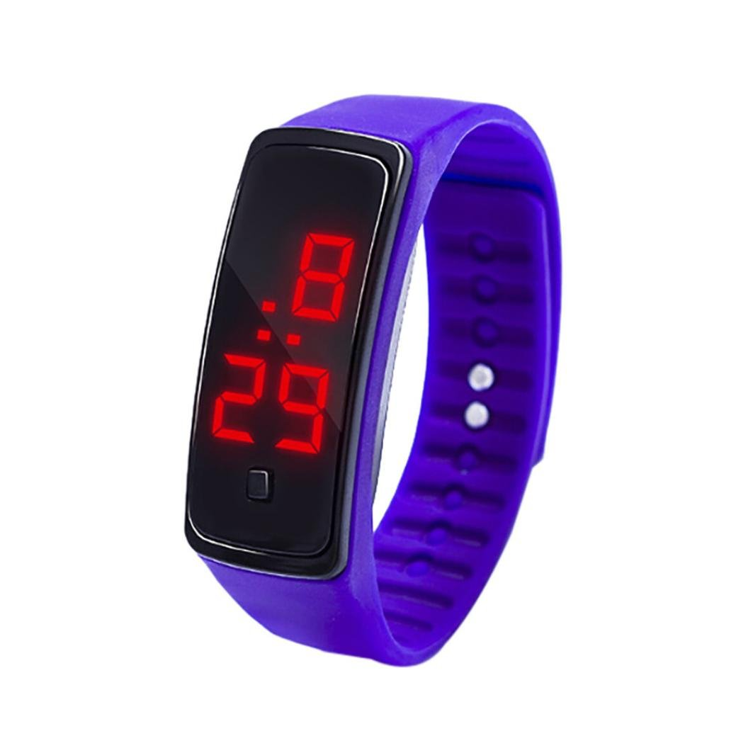HighlifeS Kids Watches LED Digital Silicone Children Toddler Wrist Watches Time Teacher Gift for Kids (Purple)