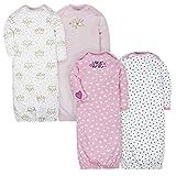 Gerber Baby Girls 4-Pack Gown, Fox/Princess, 0-6