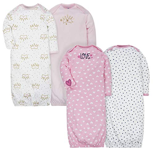 Gerber Baby Girls 4-Pack Gown, Fox/Princess, 0-6 Months