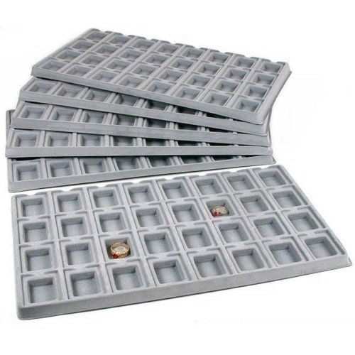 (FindingKing 6 Gray 32 Slot Puff Earring Cards Showcase Display Tray Inserts)