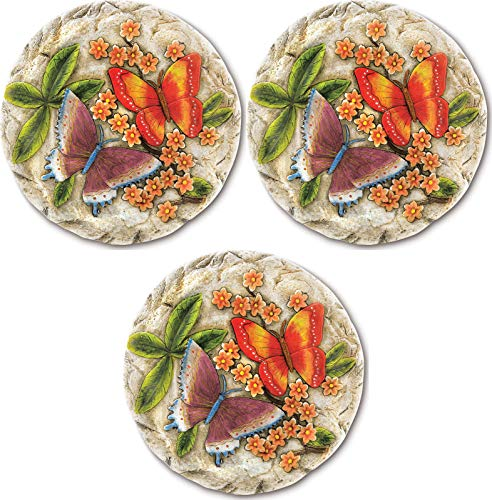 lunanice Lot of 3 Butterfly Garden Stepping Stones Yard Path Decor Flower Decor Decorative