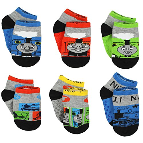 Thomas and Friends Boys 6 pack Gripper Socks (2T-4T (Shoe: 4-7), Grey/Black/Multi)