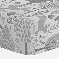 Carousel Designs Gray Woodland Animals Crib Sheet - Organic 100% Cotton Fitte...