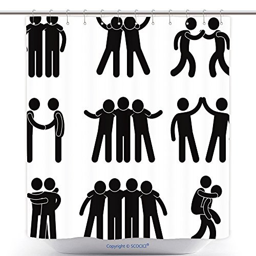 Kmart Polyester Shower Curtain (vanfan-Polyester Shower Curtains Friend Friendship Relationship Teammate Teamwork Society Icon Sign Symbol Pictogram Polyester Bathroom Shower Curtain Set With Hooks(48 x 78 inches))