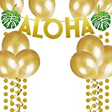 Gold Glittery ALOHA Green Leaves Garland with Gold Glitter Circle Dots and Golden Balloon for Hawaiian Tropical Luau Beach Summer Party Decoration Supplies