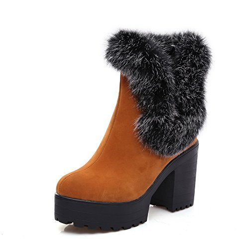 Allhqfashion Women's Pull On Imitated Suede Round Closed Toe High Heels Solid Boots Brown