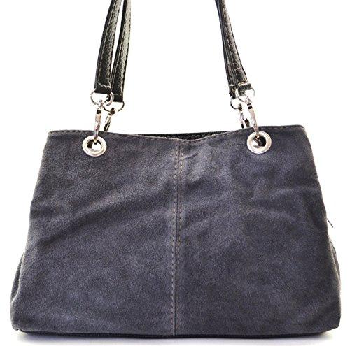OH MY BAG Sac à Main cuir nubuck femme - Modèle Inga GRIS FONCE