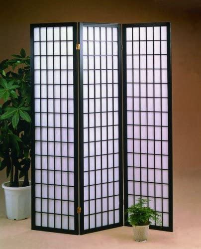 Black 3 Panels Room Divider Screen With Rice Paper