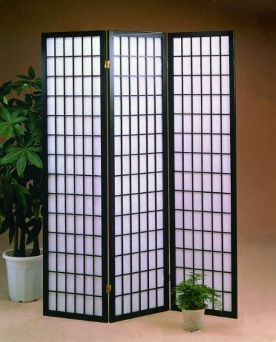 - Black 3 Panels Room Divider Screen With Rice Paper