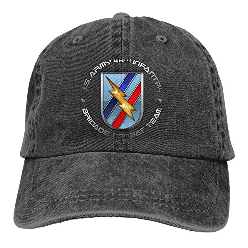48th Infantry Brigade SSI Mens Cotton Adjustable Washed Twill Baseball Cap Hat Black