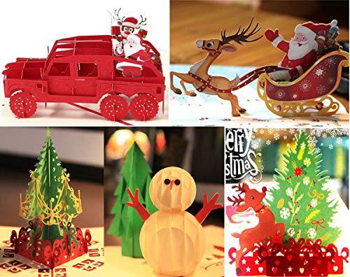 (5 Merry Christmas Card Set 3D Pop up Creeting Cards Santa Sleigh Xmas Tree Santa Claus Drive Car Elk Card Funny Holiday Card for New Year)