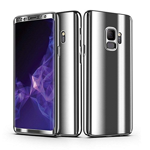 Galaxy S9 Case, Ultra Slim Electroplate 360 Degree Full Body Protection Mirror Case With Tempered Glass Screen Hard PC Protector For Samsung Galaxy S9 (Silver) (Screen Case Protector Mirror)