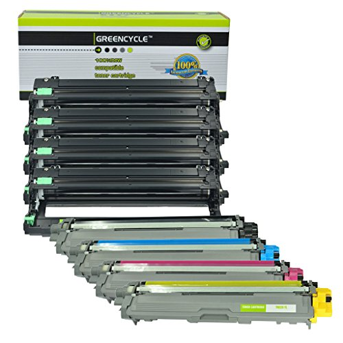 GREENCYCLE High Yield TN221 Black TN225 Cyan Yellow Magenta Toner Carrtidge DR221 Drum Unit for Brother TN-225 DR221 Black/Color HL-3140CW(1 TN221BK,1 TN225C,1 TN225Y,1 TN225M,4 DR221) ()