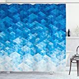 Ambesonne Geometric Shower Curtain, Geometric Gradient Digital Texture with Mosaic Triangle Pixel Graphic Print Art, Cloth Fabric Bathroom Decor Set with Hooks, 70' Long, Light Blue