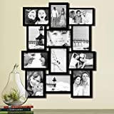 Adeco Decorative Wood Wall Hanging Collage Basket-Weave Picture Photo Frame, 4 by 6-Inch, 12 Openings, Black