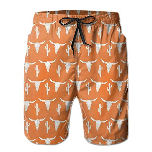 Men's Swim Trunks - Quick Dry Beach Surfing Running Swimming Shorts, Longhorn Cattle Cow Texas Skull Cactus Casual Soft Board Shorts with No Mesh Lining, Pockets & Waist Drawstring
