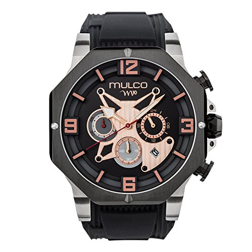 Mulco M10 105 Gent Quartz Chronograph Movement Men's Watch | Premium Analog Display with Rose Gold Accents | Black Watch Band | Water Resistant Stainless Steel Watch | MW5-5190-027